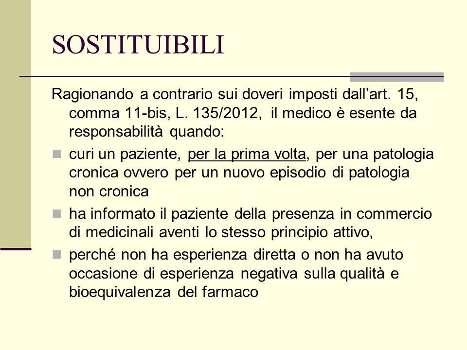 SOSTITUIBILIRagionando a contrario sui doveri imposti dall'art. 15, comma 11-bis, L. 135/2012, il medico è esente da responsabilità quando: