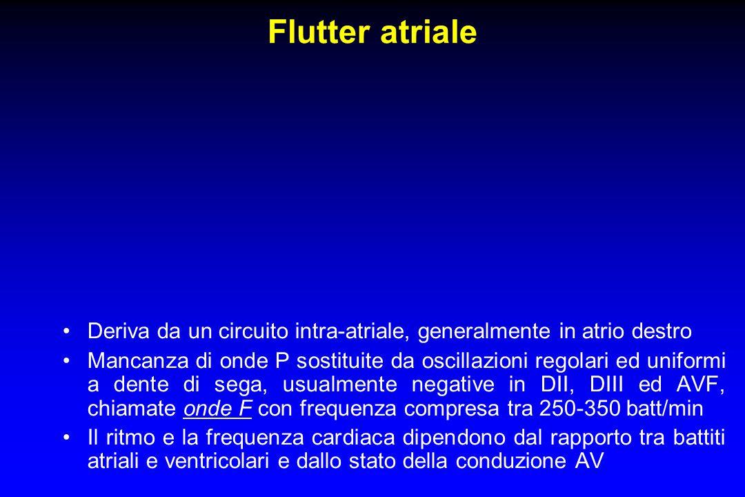Flutter atriale Deriva da un circuito intra-atriale, generalmente in atrio destro.