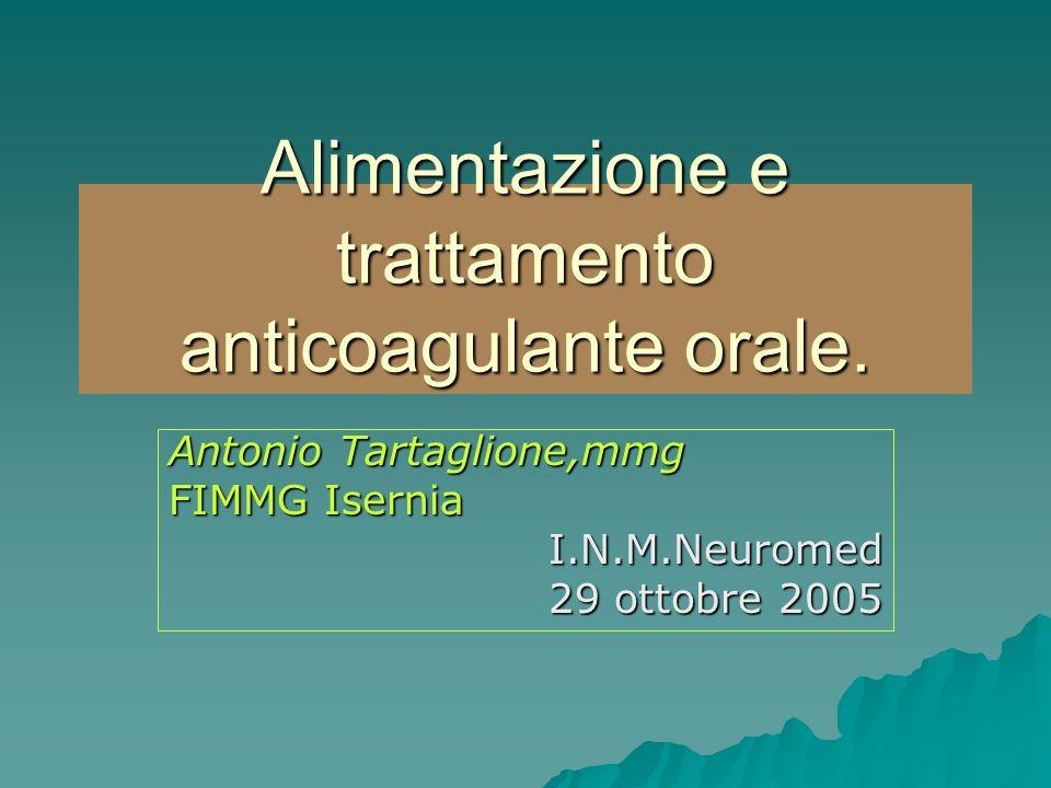 Alimentazione e trattamento anticoagulante orale.