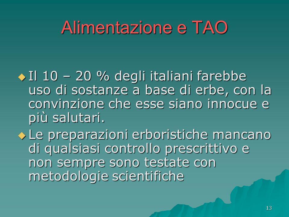 Alimentazione e TAO Il 10 – 20 % degli italiani farebbe uso di sostanze a base di erbe, con la convinzione che esse siano innocue e più salutari.