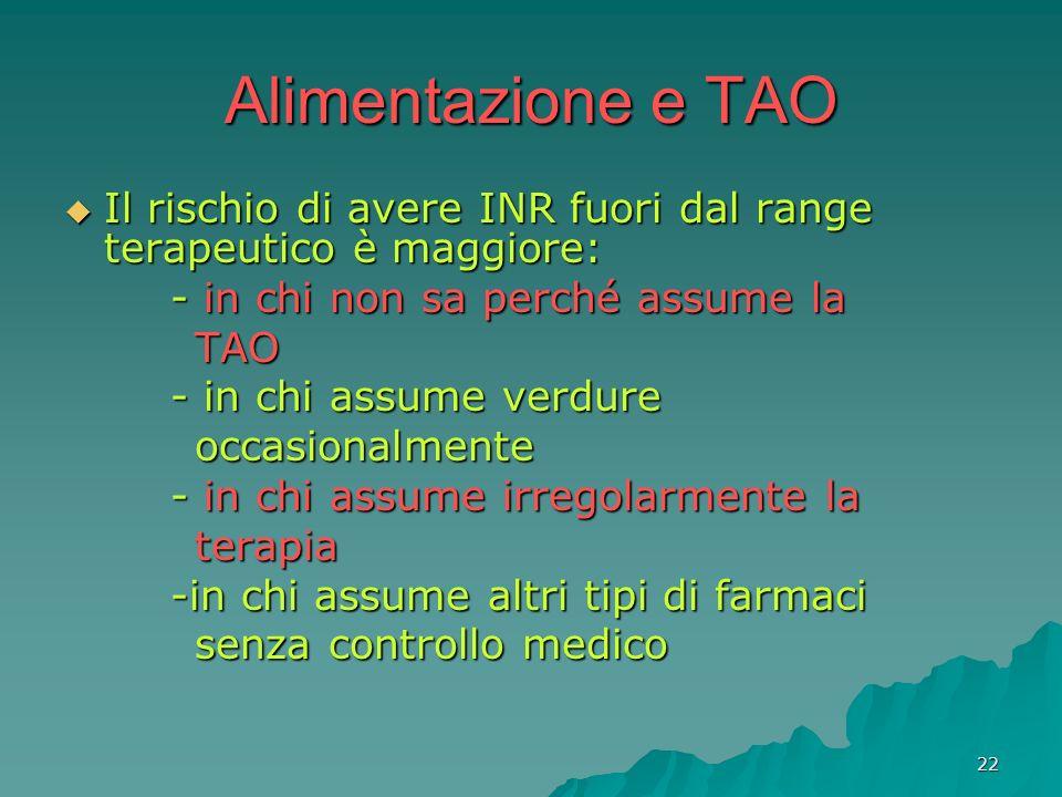 Alimentazione e TAO Il rischio di avere INR fuori dal range terapeutico è maggiore: - in chi non sa perché assume la.