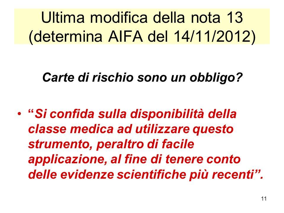 Ultima modifica della nota 13 (determina AIFA del 14/11/2012)