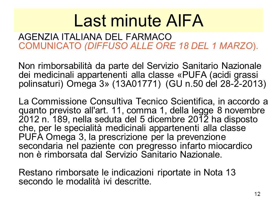 Last minute AIFA AGENZIA ITALIANA DEL FARMACO COMUNICATO (DIFFUSO ALLE ORE 18 DEL 1 MARZO).