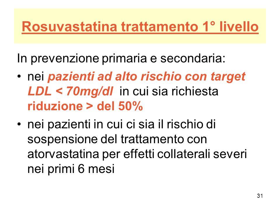 Rosuvastatina trattamento 1° livello