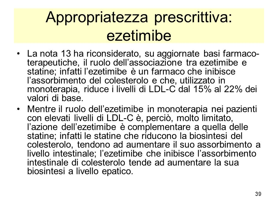 Appropriatezza prescrittiva: ezetimibe