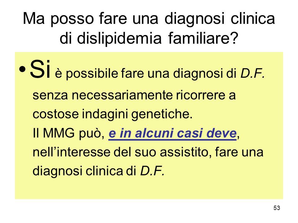 Ma posso fare una diagnosi clinica di dislipidemia familiare