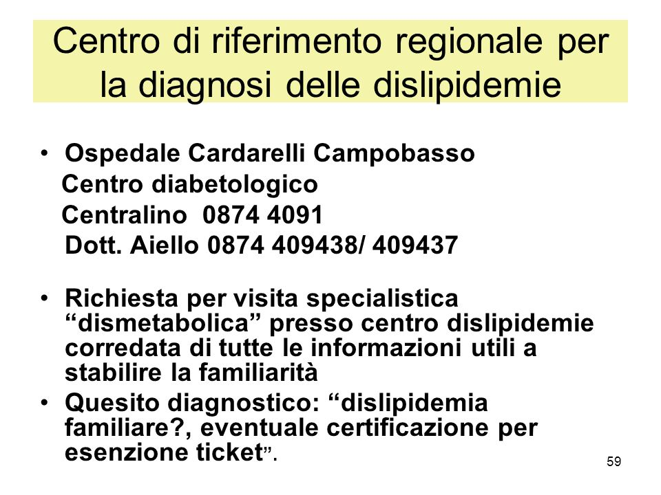 Centro di riferimento regionale per la diagnosi delle dislipidemie