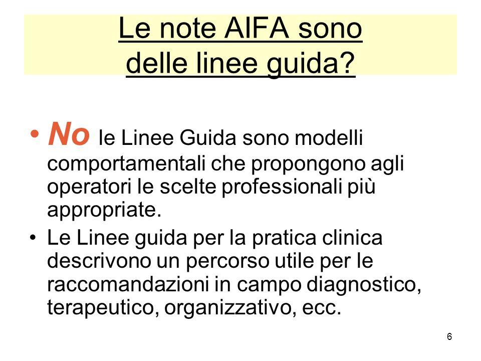 Le note AIFA sono delle linee guida