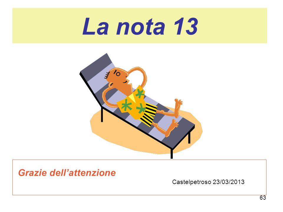 La nota 13 Grazie dell'attenzione Castelpetroso 23/03/2013