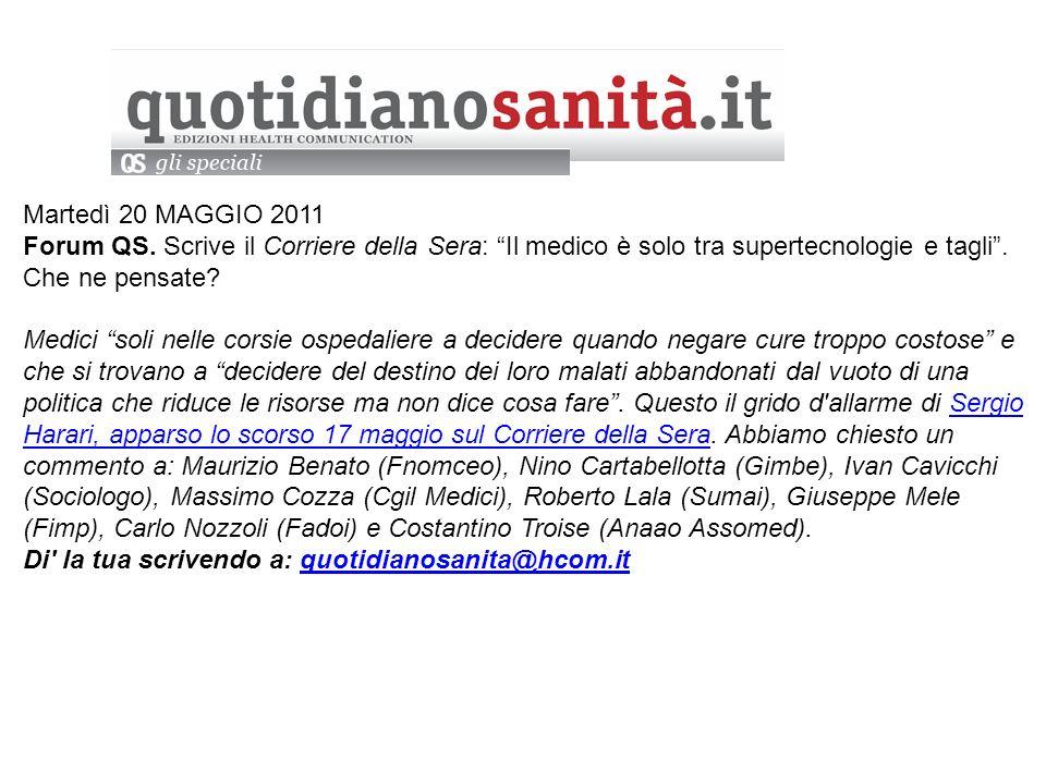 Martedì 20 MAGGIO 2011 Forum QS