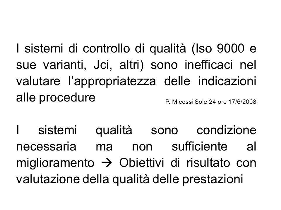 I sistemi di controllo di qualità (Iso 9000 e sue varianti, Jci, altri) sono inefficaci nel valutare l'appropriatezza delle indicazioni alle procedure