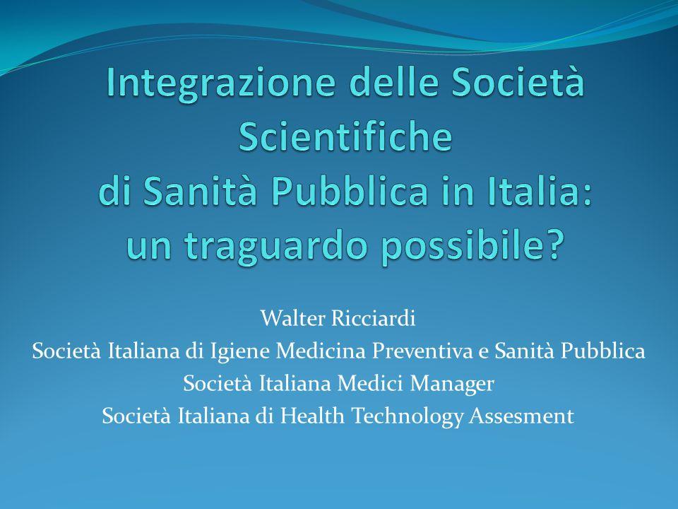 Integrazione delle Società Scientifiche di Sanità Pubblica in Italia: un traguardo possibile