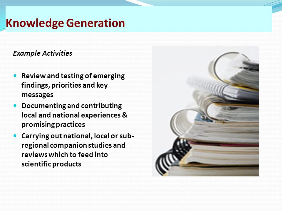 Knowledge Generation Example Activities