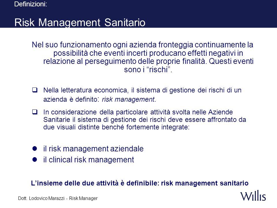 L'insieme delle due attività è definibile: risk management sanitario