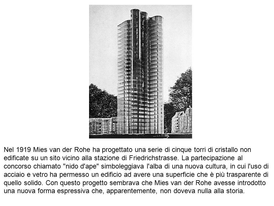 Nel 1919 Mies van der Rohe ha progettato una serie di cinque torri di cristallo non edificate su un sito vicino alla stazione di Friedrichstrasse. La partecipazione al concorso chiamato nido d ape simboleggiava l alba di una nuova cultura, in cui l uso di acciaio e vetro ha permesso un edificio ad avere una superficie che è più trasparente di quello solido. Con questo progetto sembrava che Mies van der Rohe avesse introdotto una nuova forma espressiva che, apparentemente, non doveva nulla alla storia.