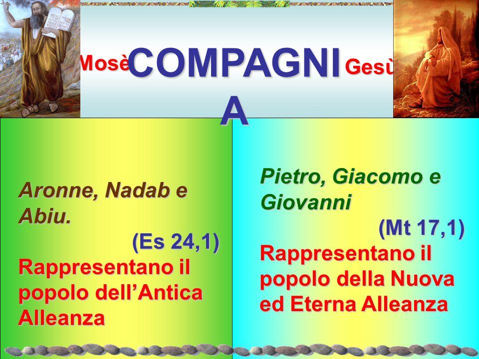 COMPAGNIA Mosè Gesù Pietro, Giacomo e Giovanni Aronne, Nadab e Abiu.