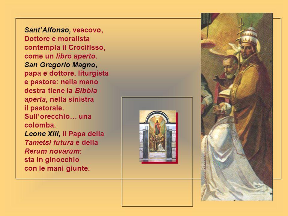 Sant'Alfonso, vescovo,Dottore e moralista contempla il Crocifisso, come un libro aperto.