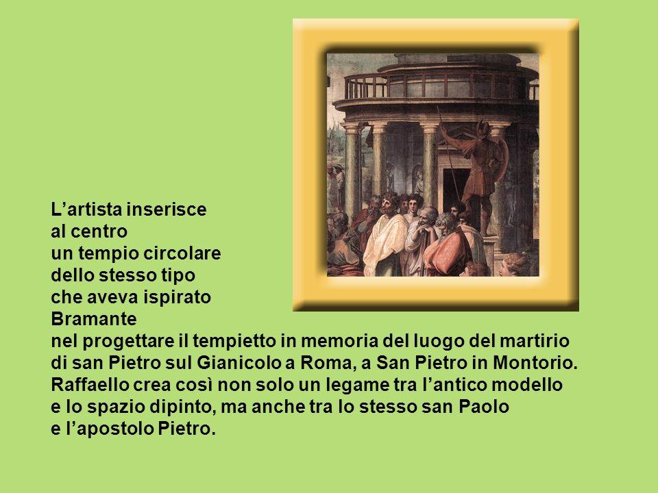 L'artista inserisce al centro un tempio circolare dello stesso tipo che aveva ispirato Bramante nel progettare il tempietto in memoria del luogo del martirio di san Pietro sul Gianicolo a Roma, a San Pietro in Montorio.