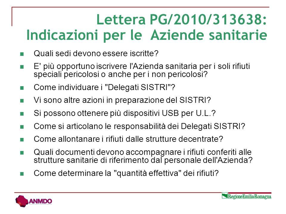 Lettera PG/2010/313638: Indicazioni per le Aziende sanitarie