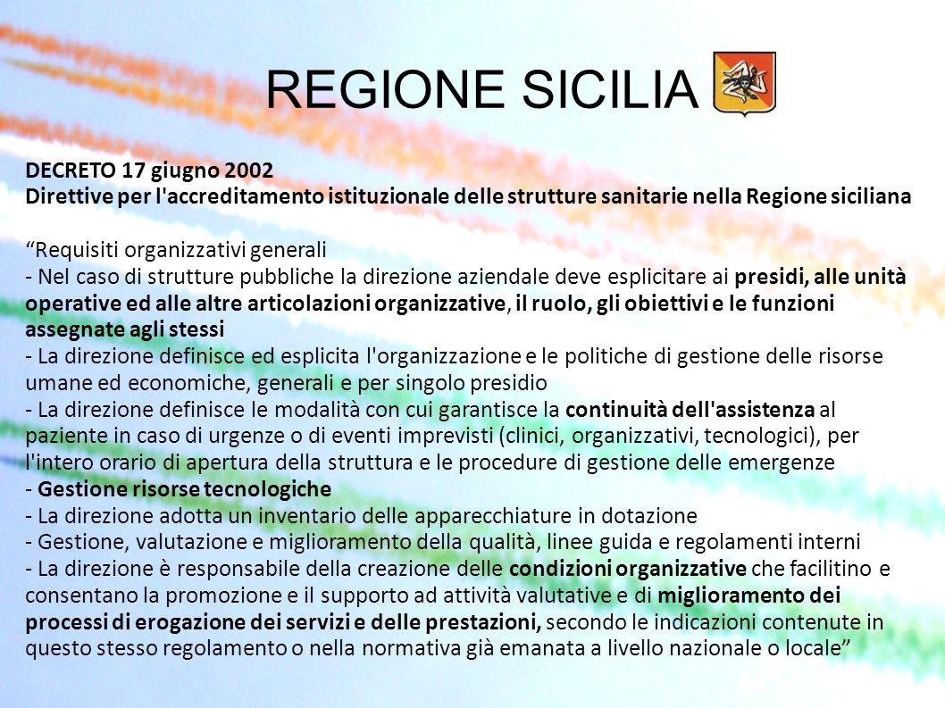REGIONE SICILIA DECRETO 17 giugno 2002 Direttive per l accreditamento istituzionale delle strutture sanitarie nella Regione siciliana.