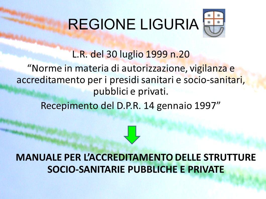 REGIONE LIGURIA L.R. del 30 luglio 1999 n.20