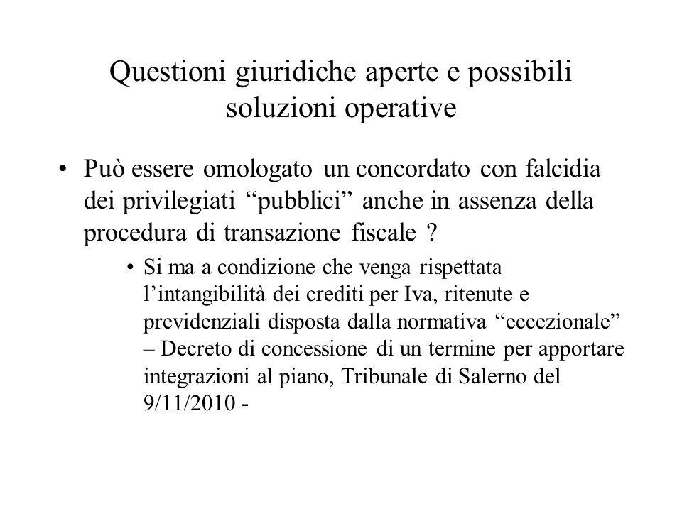 Questioni giuridiche aperte e possibili soluzioni operative