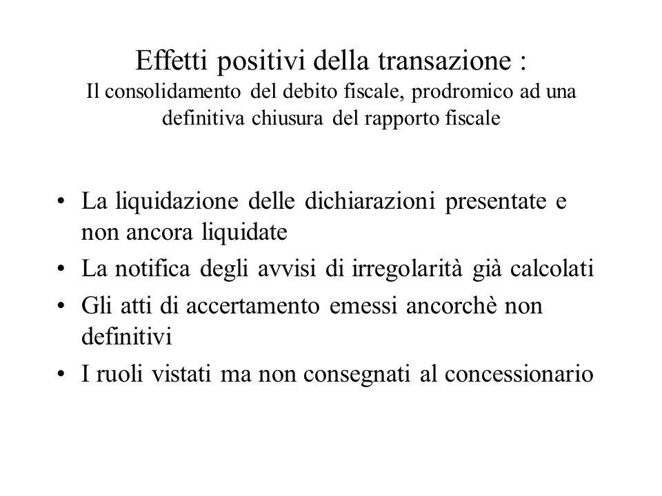 Effetti positivi della transazione : Il consolidamento del debito fiscale, prodromico ad una definitiva chiusura del rapporto fiscale