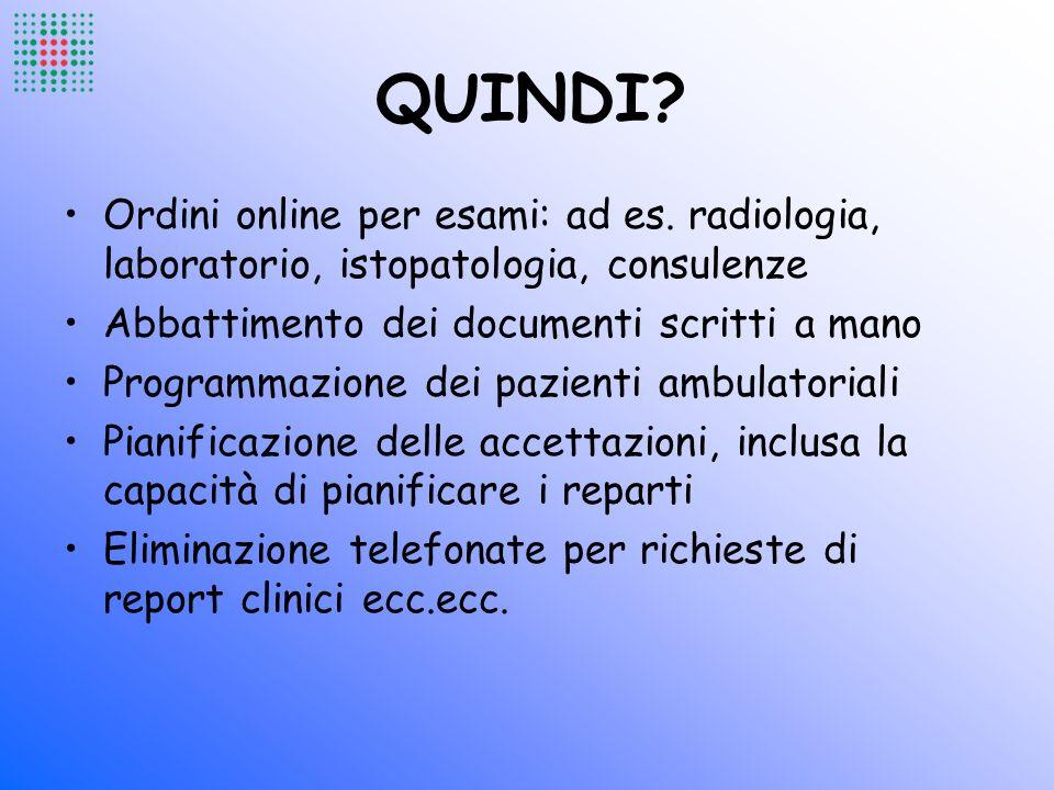 QUINDI Ordini online per esami: ad es. radiologia, laboratorio, istopatologia, consulenze. Abbattimento dei documenti scritti a mano.