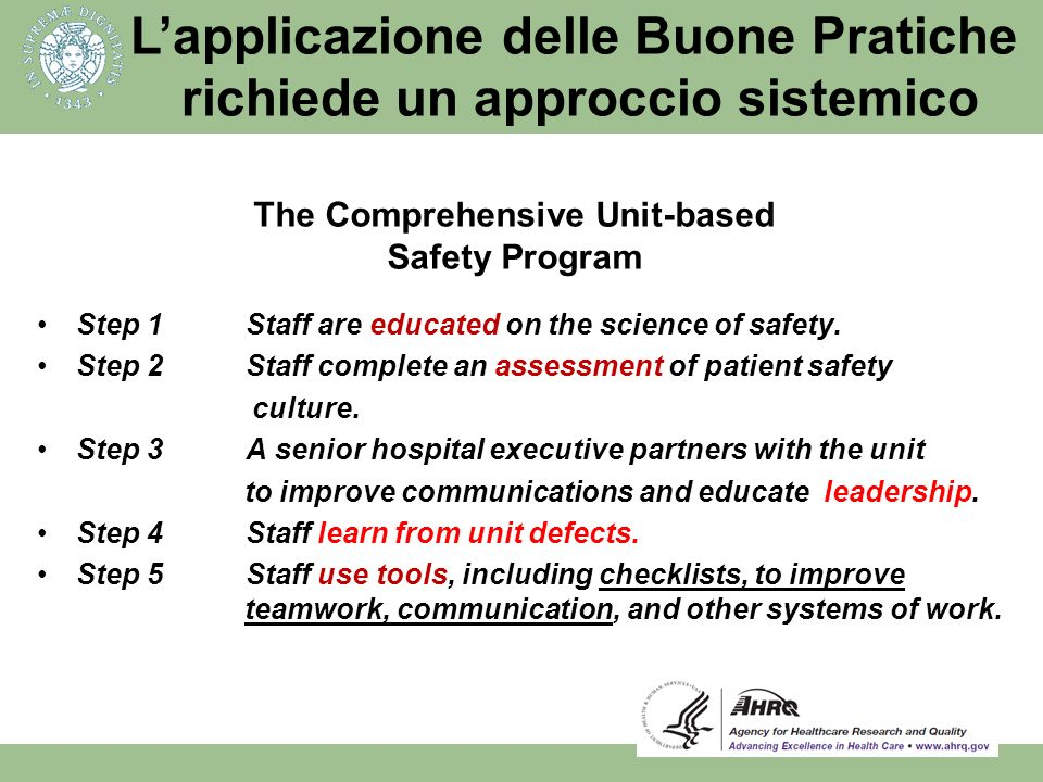 The Comprehensive Unit-based Safety Program
