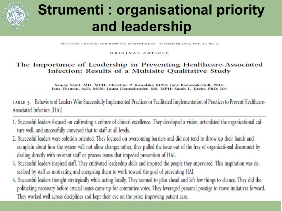 Strumenti : organisational priority