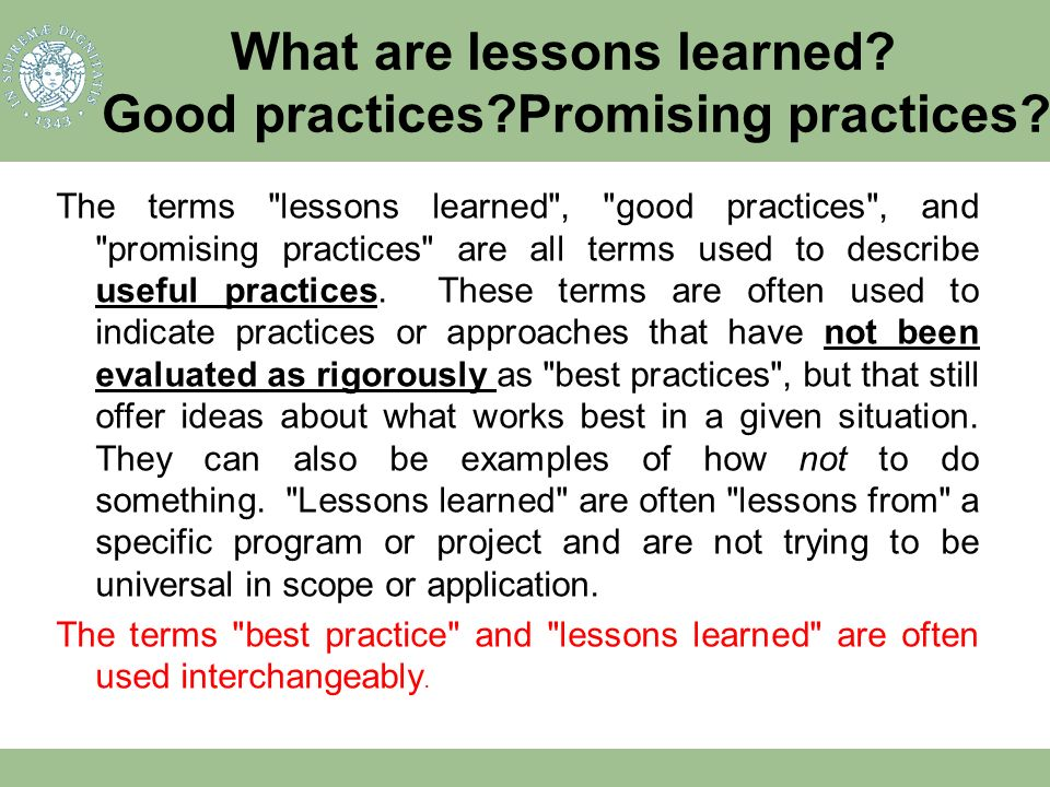 Good practices Promising practices