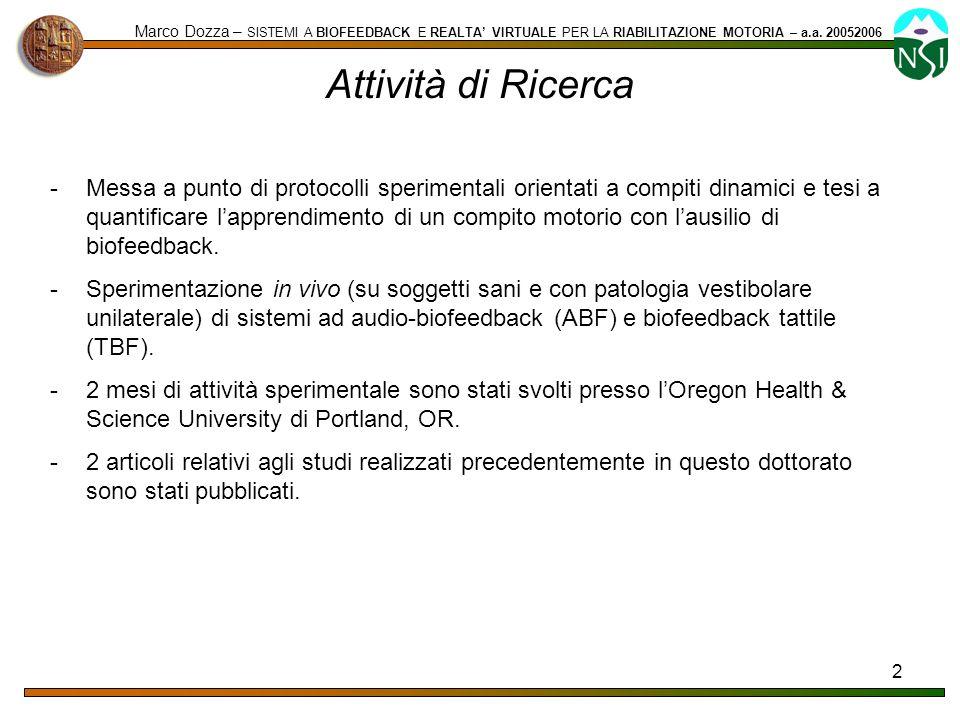 Marco Dozza – SISTEMI A BIOFEEDBACK E REALTA' VIRTUALE PER LA RIABILITAZIONE MOTORIA – a.a. 20052006