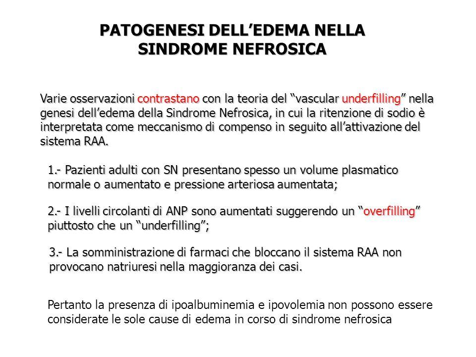 PATOGENESI DELL'EDEMA NELLA SINDROME NEFROSICA