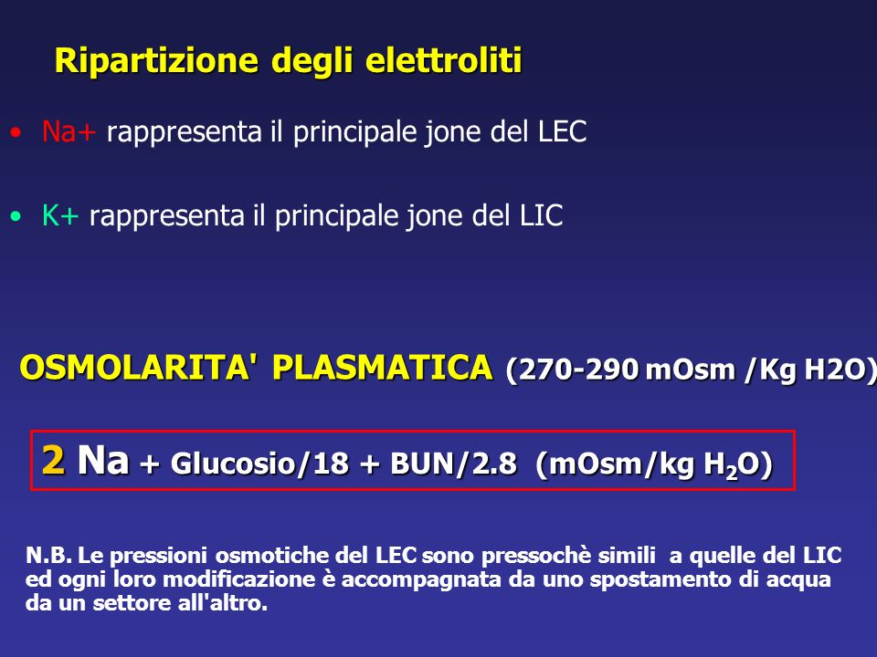 2 Na + Glucosio/18 + BUN/2.8 (mOsm/kg H2O)