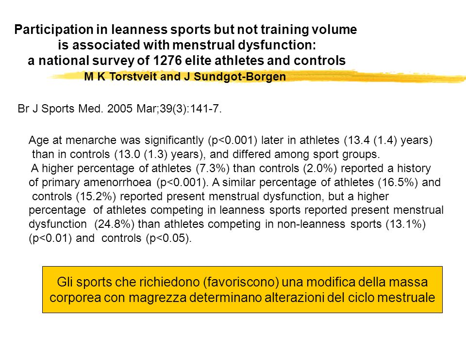 Participation in leanness sports but not training volume