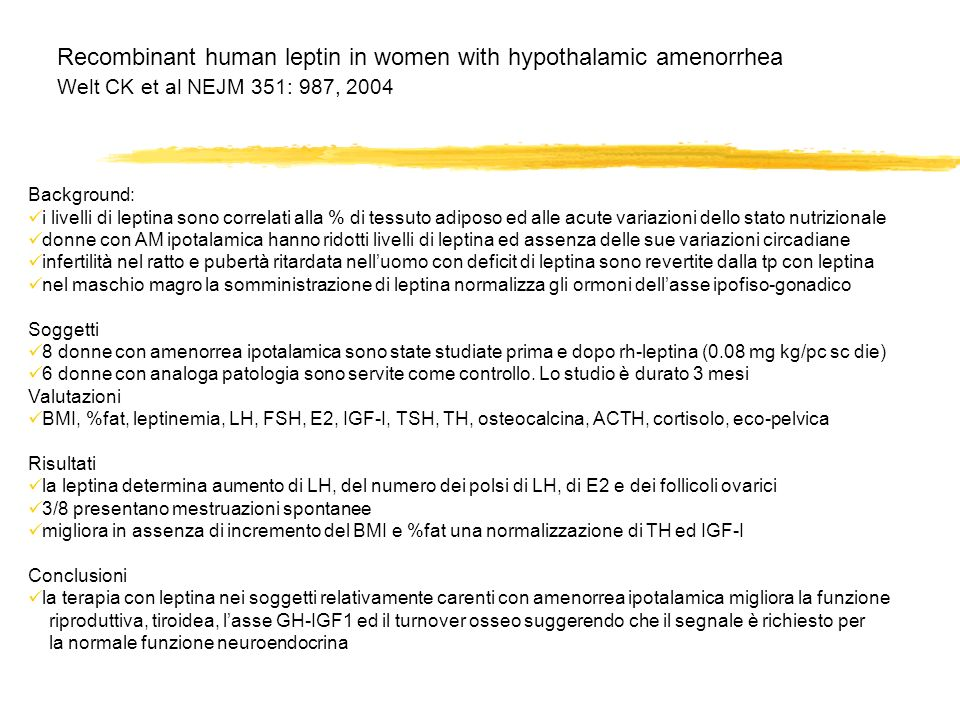 Recombinant human leptin in women with hypothalamic amenorrhea