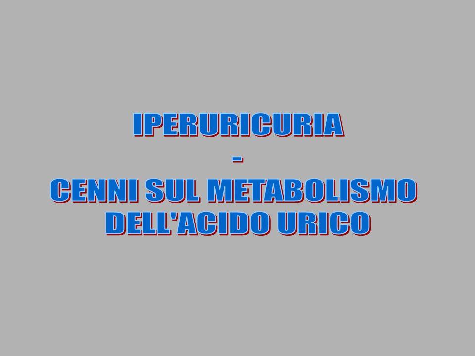IPERURICURIA - CENNI SUL METABOLISMO DELL ACIDO URICO