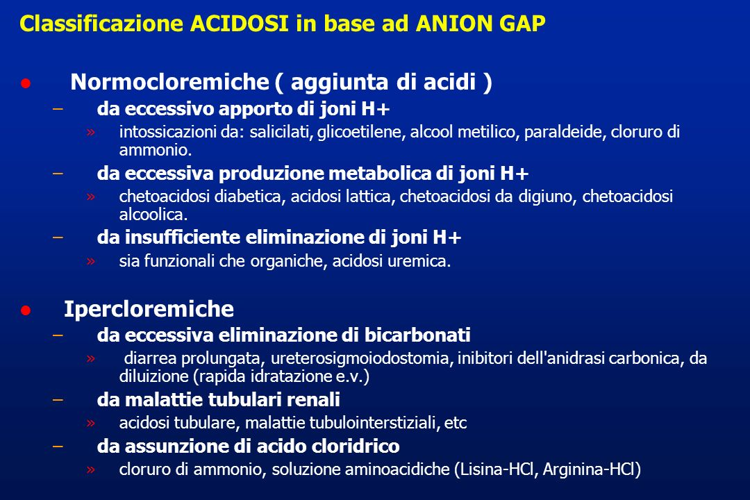 Classificazione ACIDOSI in base ad ANION GAP