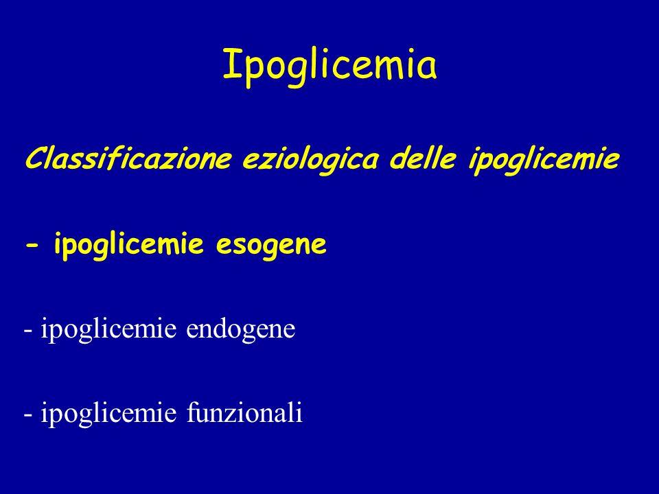 Ipoglicemia Classificazione eziologica delle ipoglicemie