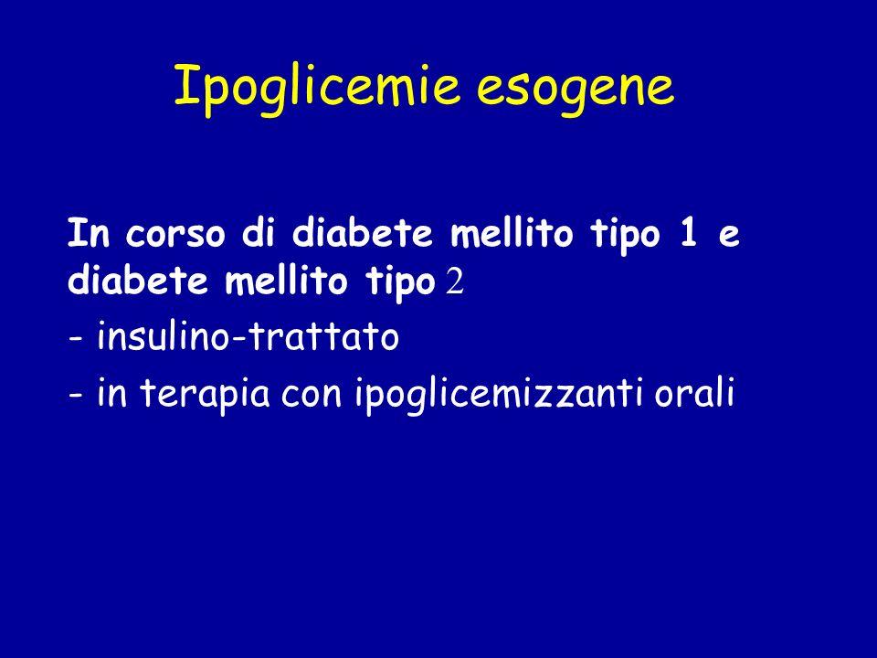 Ipoglicemie esogeneIn corso di diabete mellito tipo 1 e diabete mellito tipo 2. - insulino-trattato.
