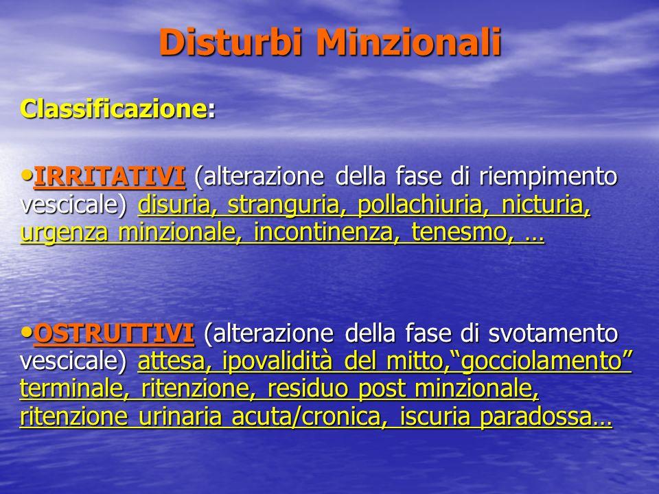 Disturbi Minzionali Classificazione: