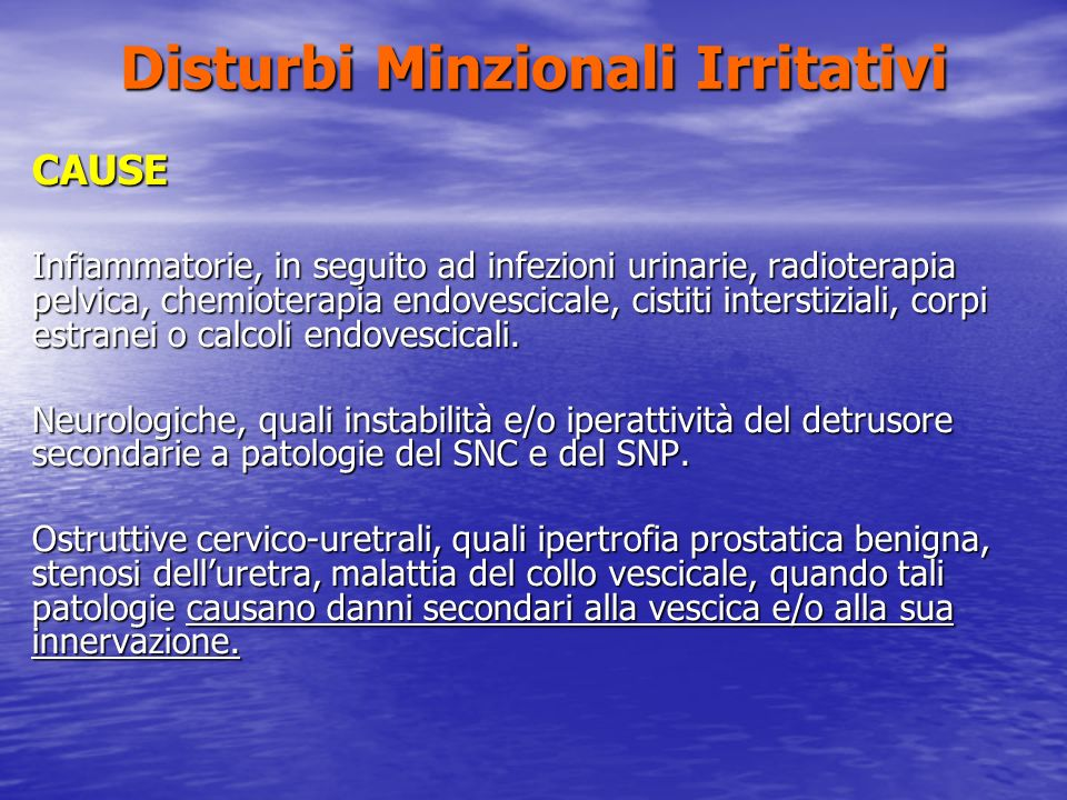 Disturbi Minzionali Irritativi