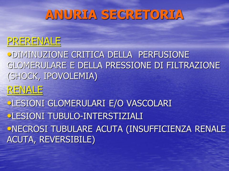 ANURIA SECRETORIA PRERENALE RENALE