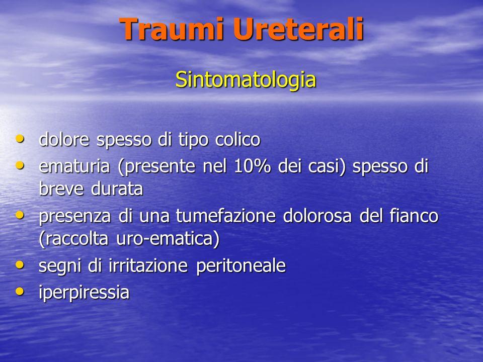 Traumi Ureterali Sintomatologia dolore spesso di tipo colico