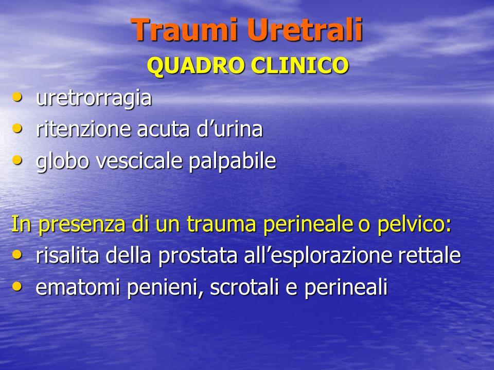 Traumi Uretrali QUADRO CLINICO uretrorragia ritenzione acuta d'urina