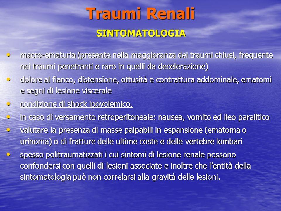 Traumi Renali SINTOMATOLOGIA