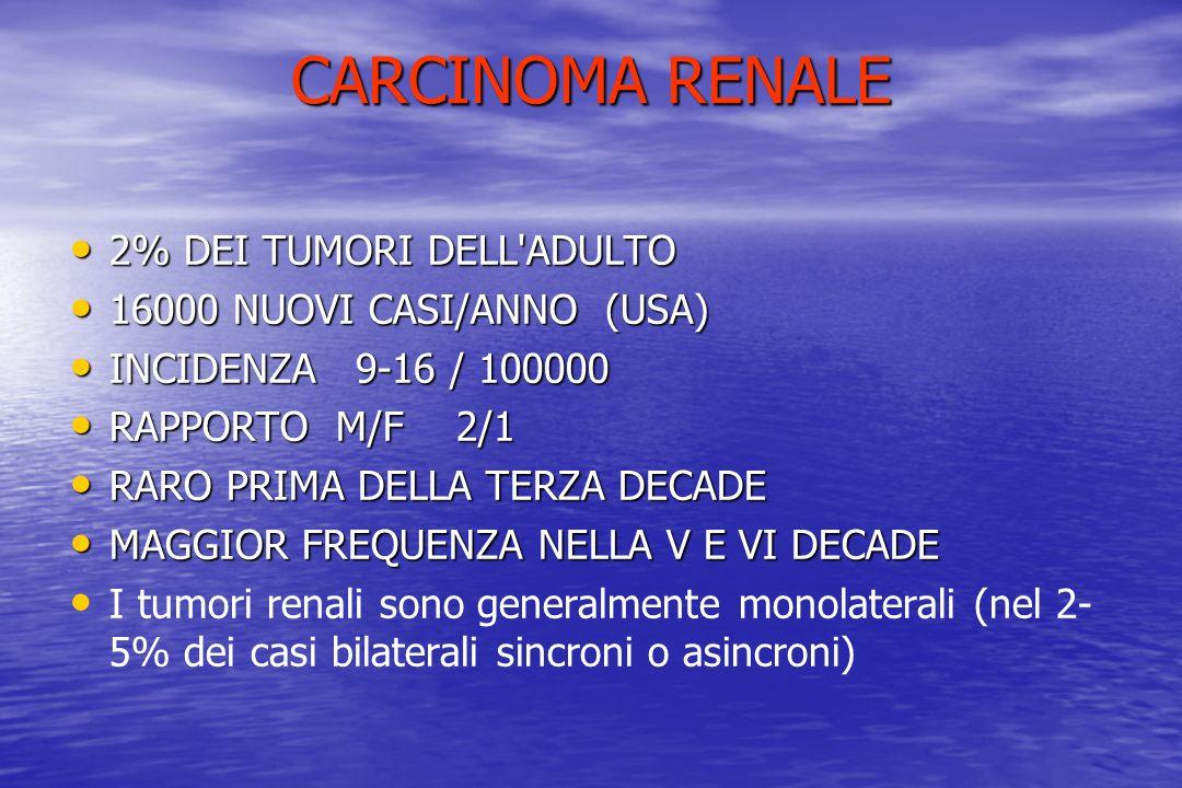 CARCINOMA RENALE 2% DEI TUMORI DELL ADULTO 16000 NUOVI CASI/ANNO (USA)