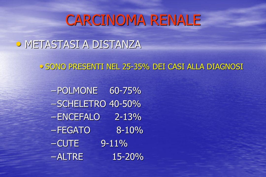 CARCINOMA RENALE METASTASI A DISTANZA POLMONE 60-75% SCHELETRO 40-50%