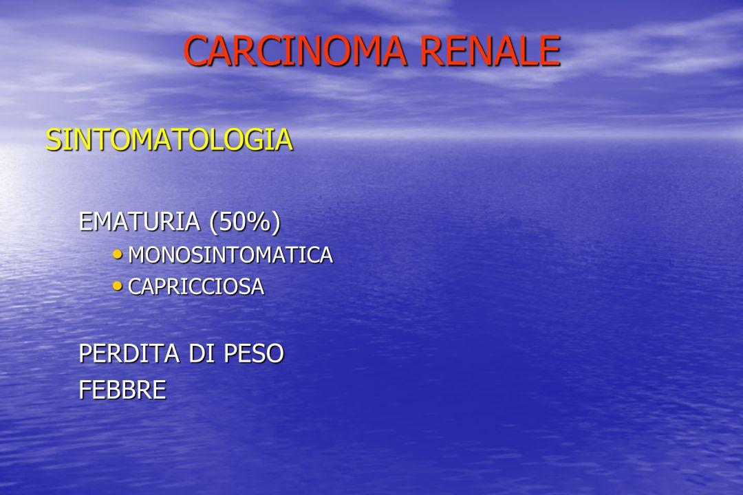 CARCINOMA RENALE SINTOMATOLOGIA EMATURIA (50%) PERDITA DI PESO FEBBRE