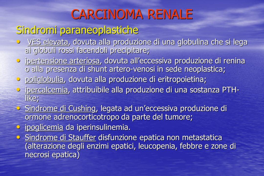 CARCINOMA RENALE Sindromi paraneoplastiche
